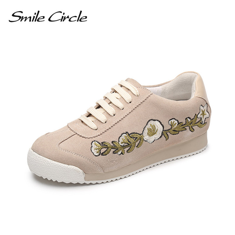 Smile Circle 2017 Autumn Wedges Shoes For Women Genuine Leather Shoes Fashion embroidery Platforms casual shoes sneakers