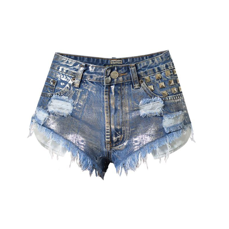 TREND-Setter 2017 Summer High Waist Denim Shorts Women Holes Hot Jeans Metal Sliver Ripped Punk Style Pants Shorts Casual