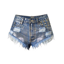 TREND-Setter 2017 Summer High Waist Denim Shorts Women Holes Hot Jeans Metal Sliver Ripped Punk Style Pants Shorts Casual(China)