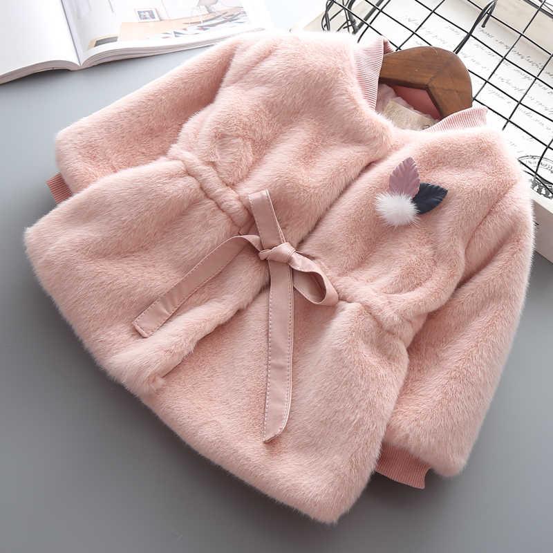 Детское пальто из искусственного меха для девочек; сезон весна-осень; Новый Модный Кардиган для маленьких девочек; пальто для девочек; шерстяная плотная теплая куртка принцессы; 2 года