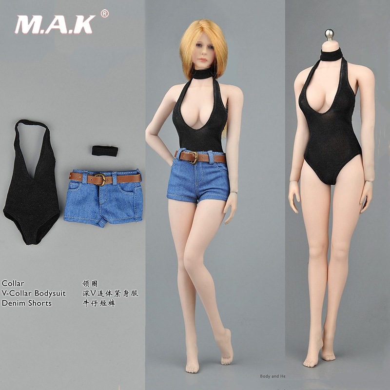 1/6 Scale Female Sexy V-Collar Bodysuit Shorts Clothing Set F 12