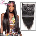 "cheap African American clip in human hair extension full head 80g18""20""22""24"" Peruvian virgin hair longqi human hair clip ins"