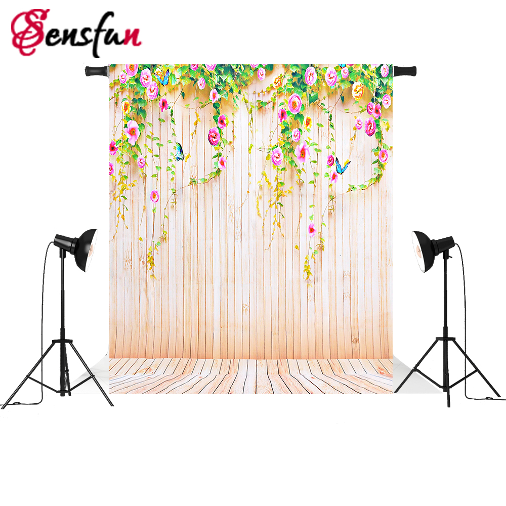 Sensfun Vinyl Fabric Photography Backdrops Photo Stand Studio Background Yellow Wooden Flower Photocall Photo booth 5x7ft sensfun where the wild things are dessert table backdrops custom photo studio backdrop background vinyl 7x5ft