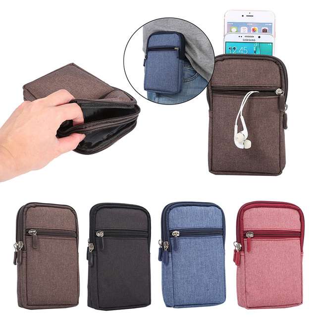 New Universal Denim Leather Cell Phone Bag Belt Clip Pouch Waist Purse Case Cover For Htc