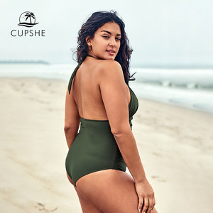 Image 2 - CUPSHE Plus Size Olive Halter One Piece Swimsuit Sexy Cut out Backless Lace Up Women Monokini Bathing Suits 2020 Beach Swimwear