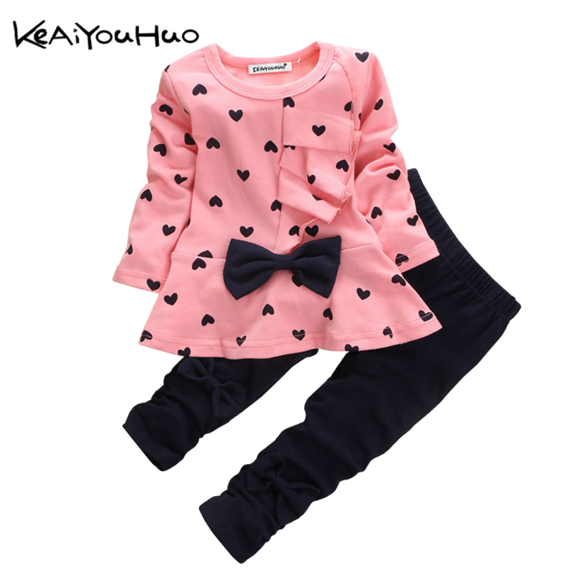 KEAIYOUHUO Spring Autumn Toddler Children Girls Clothes Set Love Bow Printing Long sleeves T-shirt+Pant 2pcs Outfit Sport Suit keaiyouhuo newborn baby spring autumn girls clothes set rabbit cotton coat pants 2pcs set kid 0 2y girls pure clothes clothing