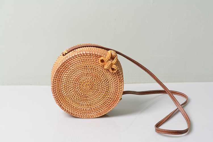 18 Round Straw Bags Women Summer Rattan Bag Handmade Woven Beach Cross Body Bag Circle Bohemia Handbag Bali 25