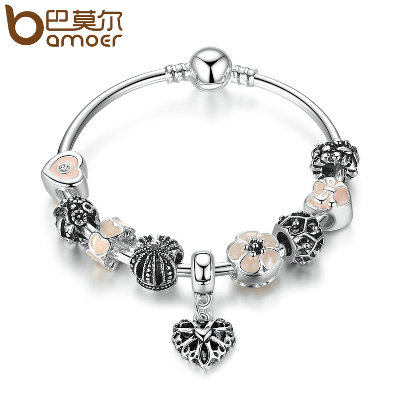 BAMOER Silver Color Openwork Heart Pendant Bracelets with Pink Flower Beads Charm Bracelets & Bangles for Women Jewelry PA3816 fashionable solid color openwork wrapped skirt for women