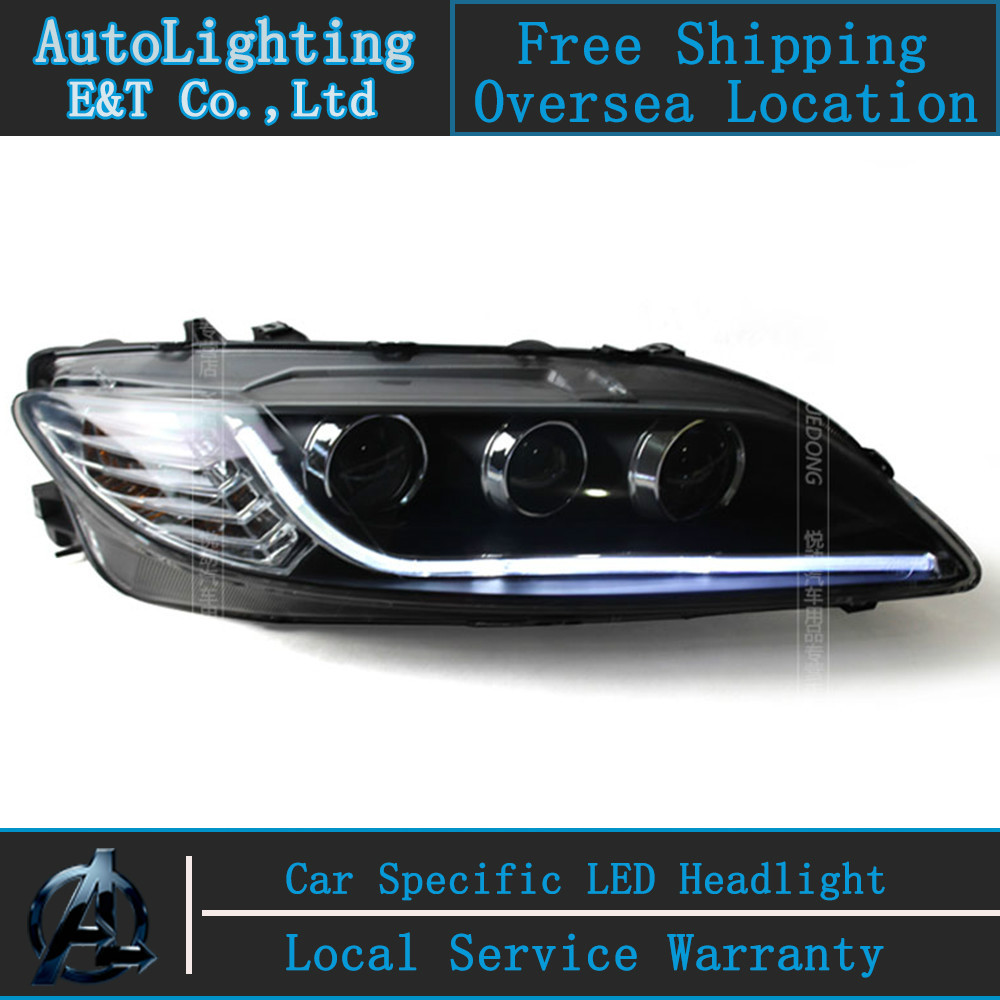 Car Styling LED Head Lamp for Mazda6 headlights 2003-2013 Mazda 6 LED headlight drl H7 hid Bi-Xenon Lens angel eye low beam for mazda 3 axela 2013 2015 year led headlight head lamp with bi xenon projector lens front light ld