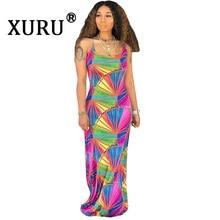 цены на XURU Summer New Women's Print Dress Sexy Halter Sling Graffiti Long Dress Urban Casual Large Size S-2XL в интернет-магазинах