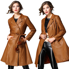 Double Breasted PU Leather Trench Coat Women Autumn Winter Black Brown Belt Long Sleeve Faux Leather Long Trench Coat Plus Size