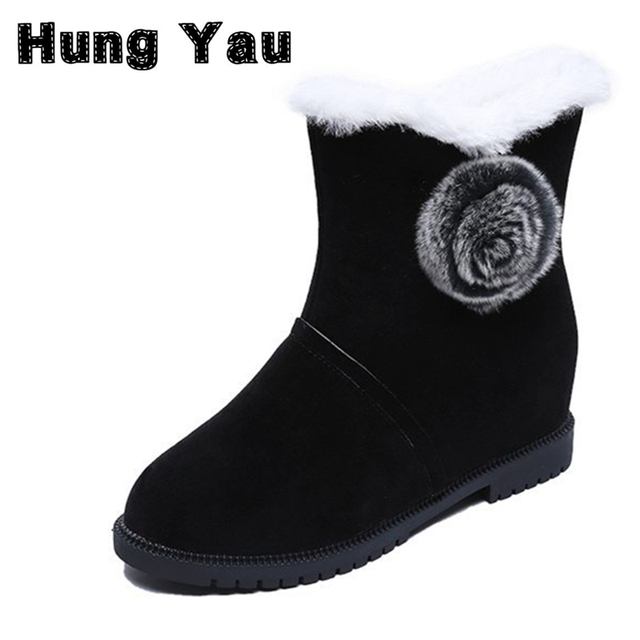 75e2dd8c9e2b7 Hung Yau Women Warm Thick Snow Boots New 2017 Winter Cotton Boots Mid-Calf  Fashion Shoes Casual Flat Shoes 3 Colors Plus Size 9