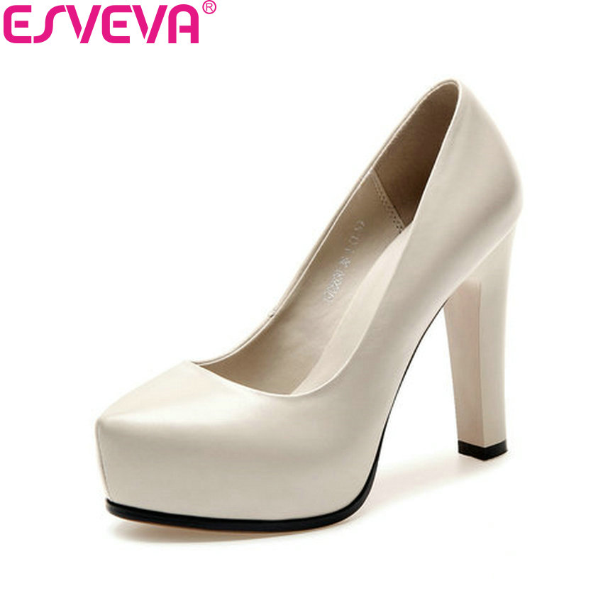 ESVEVA 2018 Women Pumps Square High Heel Slip on Cow Leather PU Western Style Pointed Toe Platform 2.5cm Ladies Shoes Size 34-39 esveva 2017 ankle strap high heel women pumps square heel pointed toe shoes woman wedding shoes genuine leather pumps size 34 39