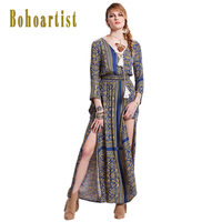 Women Autumn Bohemian Dress Boho People Dress Vintage Ethnic Floral Embroidered Flare Sleeve Long Dress Fable