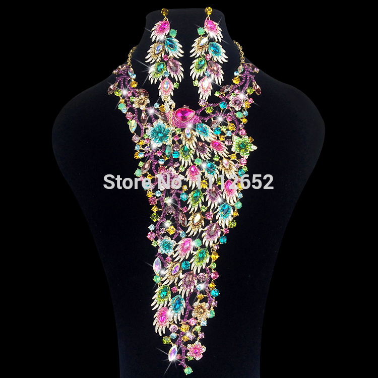 Luxury Bridal Jewelry Sets Gorgeous Peacock Bird Rhinestones Necklace Earrings For Brides Wedding Prom Dress Costume Accessories