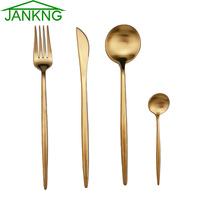 16Pcs/Lot New Multicolor Cutlery Set Matte Stainless Steel Dinnerware Set Black Rose Gold Knife Utensil Fork Scoop Tableware Set