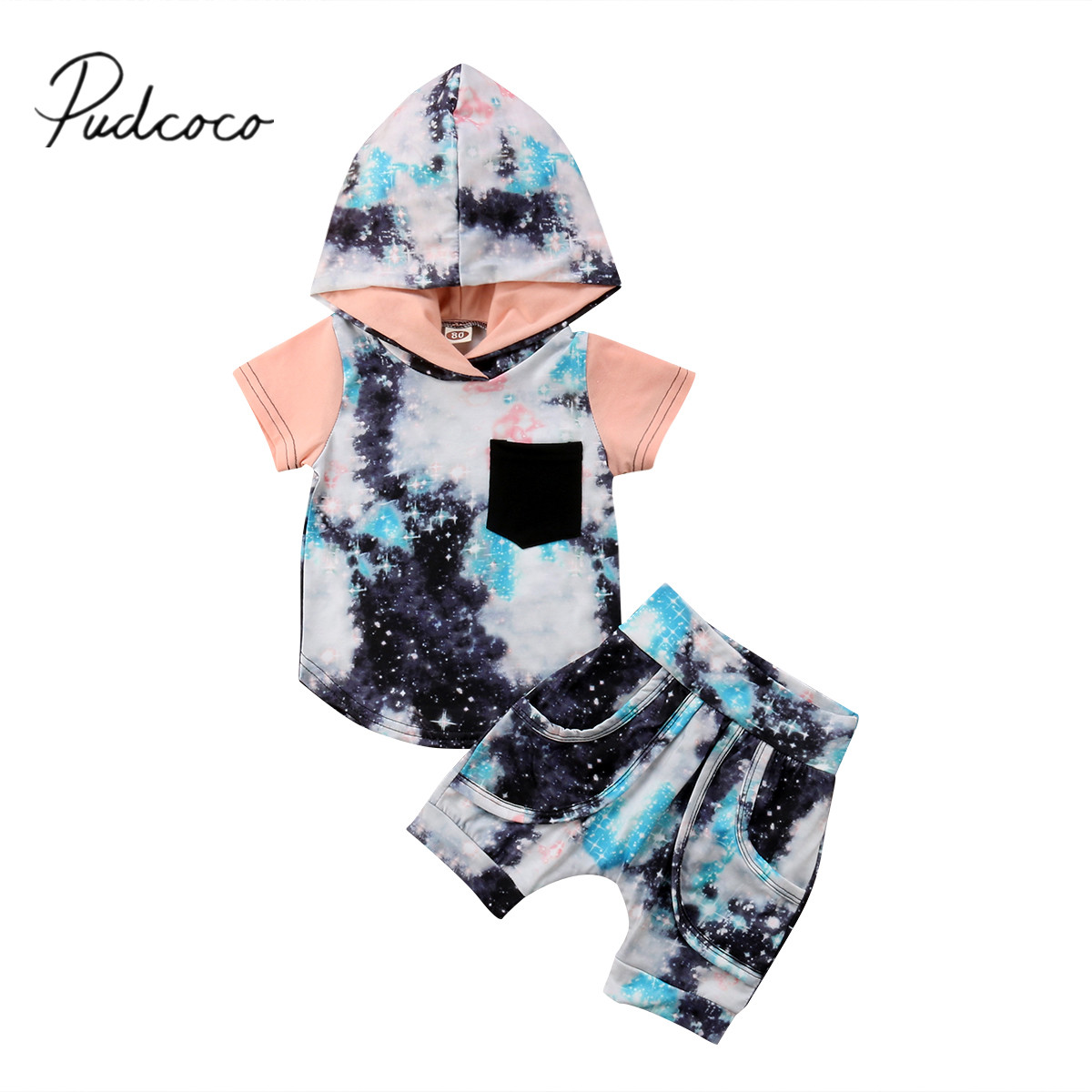 2018 Brand New Toddler Infant Kids Baby Boy Hoodie Tops Pants 2Pcs Outfits Clothes Sets Summer Graffiti Stars Sunsuit 6M-4T