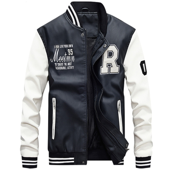Pilot Bomber Flight Leather Jacket Men Varsity Letter Man Winter Mens Faux Fur Coats Waterproof Baseball Softshell Heated