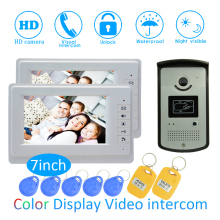 New Smart home Control 7 inch Display 1 to 2 Door Bell Wired Video Door Phone System HD waterproof camera RFID Card Door release цена в Москве и Питере