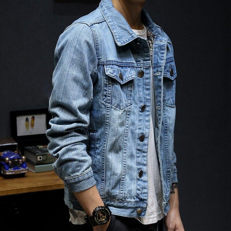LEDINGSEN Bleu Affligé Denim Veste Hommes Printemps Déchiré Jeans Veste Manteau Homme Slim Fit Casual Manteaux Coton Plus La Taille 3XL