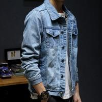LEDINGSEN Distressed Blue Denim Jacket Men Spring Ripped Jeans Jacket Coat Male Slim Fit Casual Coats Cotton Plus Size 3XL