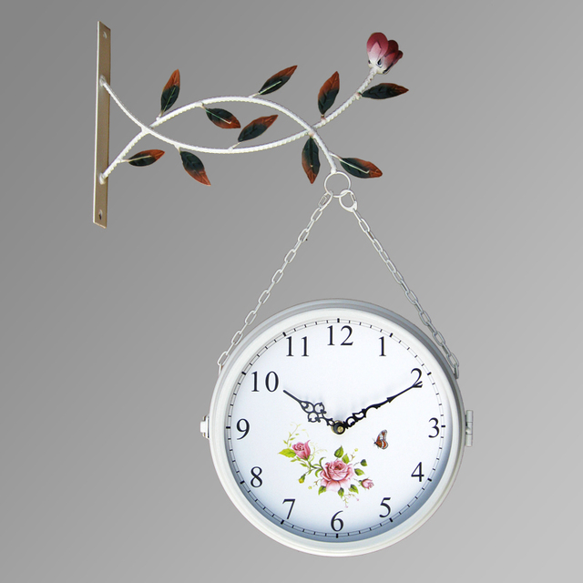 double sided wall clock modern design wrought iron watches saat wall clocks relogio de parede reloj