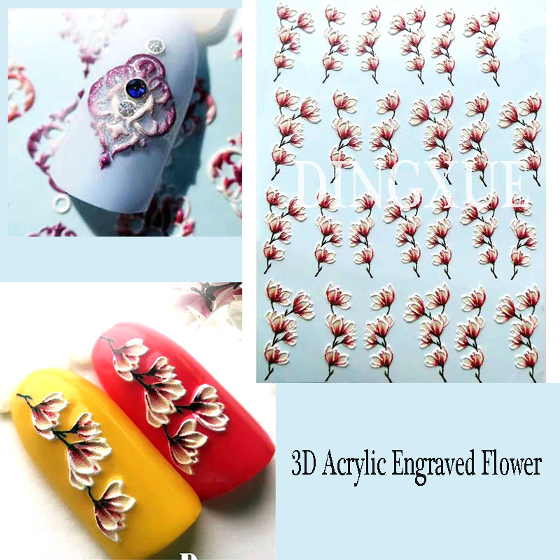 1pc 3D Acrylic Engraved Flower Lotus Bee Nail Sticker Embossed Red Flower Water Decals Empaistic Nail Water Slide Decals Z0098