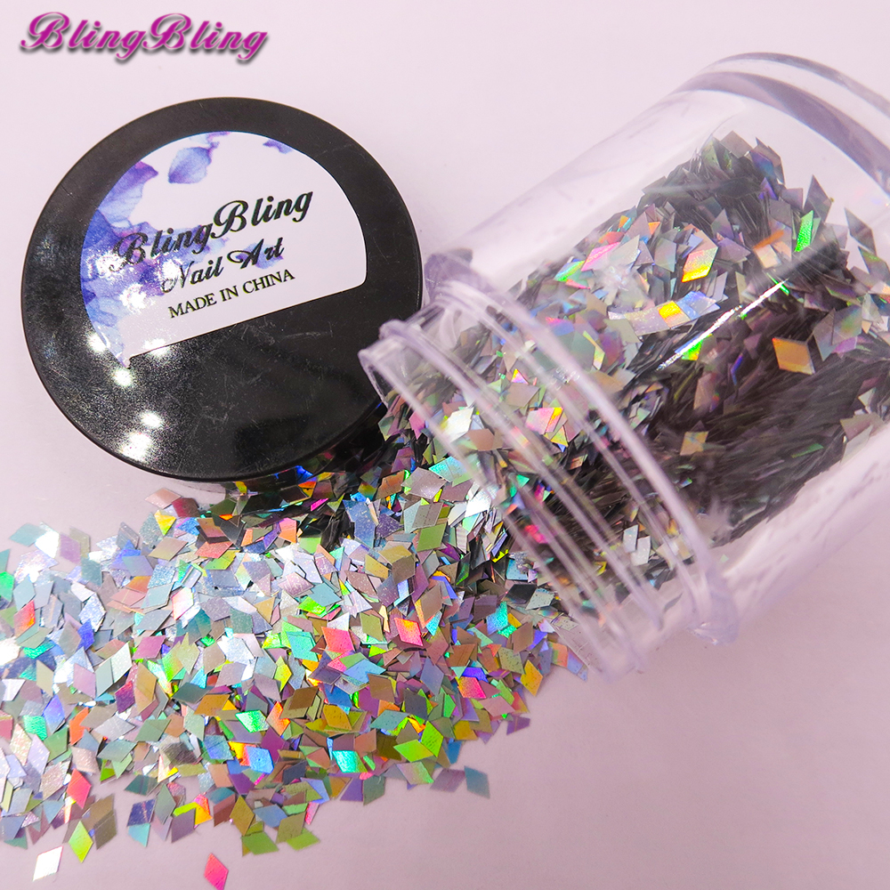 10ml/Box Geometric Flakes 3D Nail Art Holographic Silver