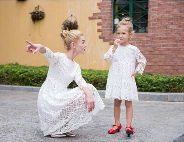 2019 PPXX Lace Girl Dress Women Dress Long Sleeve Wedding Party Mother Daughter Dresses Family Matching Outfit Family Look