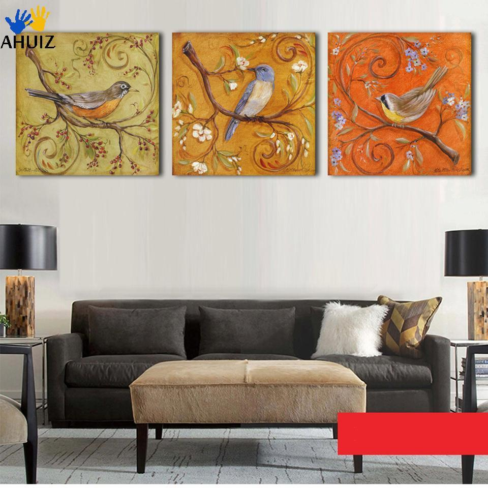 Wall Art Canvas Asda : Piece abstract birds antique paintings printed painting