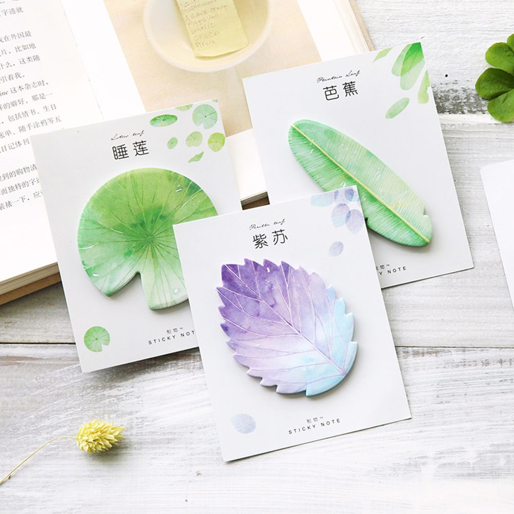Kawaii Heart Shaped Leaves Memo Pad Lotus Leaf Sticky Notes Natural Plant Post Note Office Planner Paper Sticker School Supplies