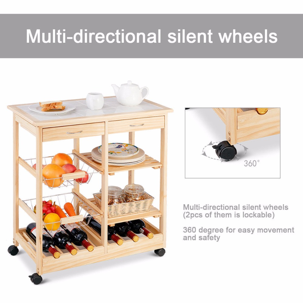 Goplus Rolling Wood Kitchen Trolley Cart Island Shelf w/ Storage Drawers Baskets New HW58491NA 9