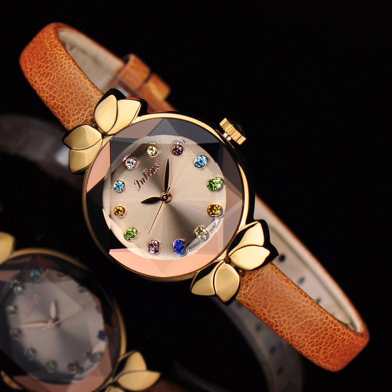 Prix pour Dame Montre-Bracelet À Quartz Femme Heures Best Dress Fashion Corée Bracelet de Cuir de Marque Cristal Multicolore Noeud Julius Boîte 627
