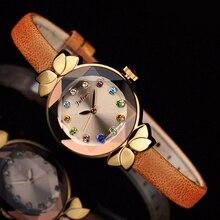 Lady Wrist Watch Quartz Woman Hours Best Fashion Dress Korea Bracelet Brand Leather Multicolored Crystal Knot Julius Box 627