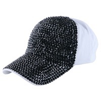 Girl Women Luxury Baseball Cap Hat Jet Black Rhinestone Crystal Novelty Beauty Snapback Hats Caps Outdoor