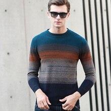 Осенние и зимние повседневные мужские пуловеры в стиле пэчворк, мужские свитера с длинными рукавами и круглым вырезом, толстые свитера, теплые пуловеры, Свитера