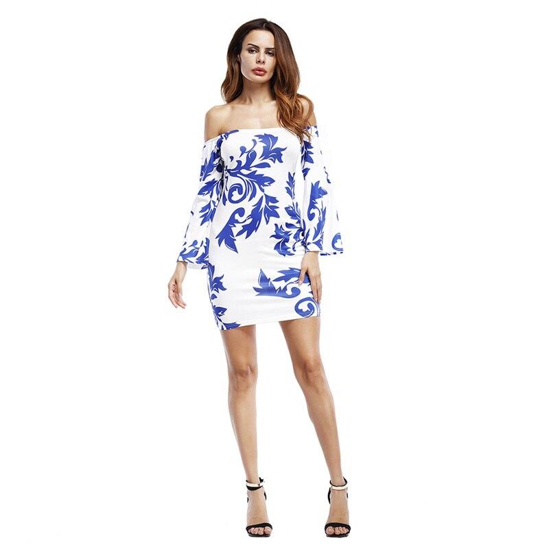 Kim Kardashian 2017 Summer Slash Neck Sheath Empire Hippie Dress Full Flare Sleeve Hollow Out Print Mini Sex Robe Beach Vistido