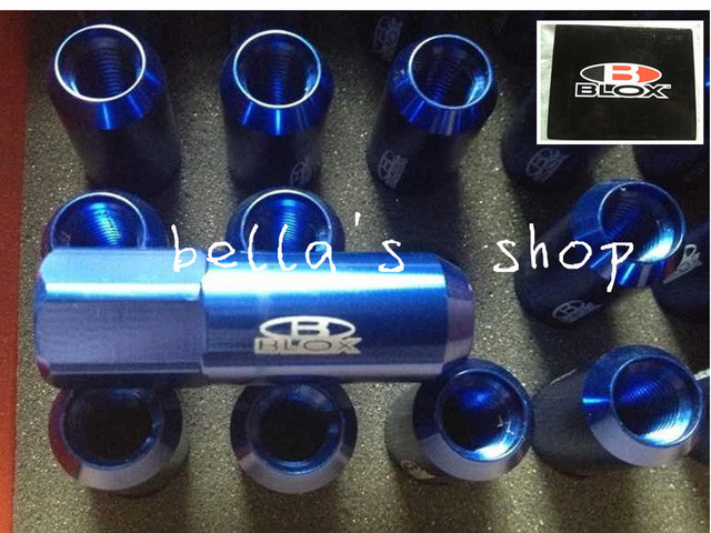 BLOX LIGHT WEIGHT WHEEL RACING LUG NUTS M12*1.5, L:60mm (20pcs/set) free shipping blue
