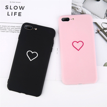 Lovely Heart Painted  For iphone 6 7 8 Fashion Couples Back Soft TPU Cover 6s Plus Earphone Accessories