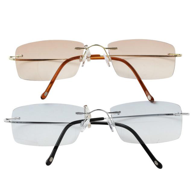 Ojo de titanio ultraligero gafas de color marrón y gris lentes Unisex gafas de lectura bifocales