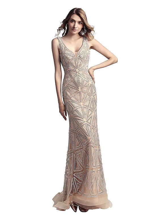 In Stock Eye-catching Tulle V-neck  Backless Floor-length Sheath/Column Formal Dresses With Beadings Sleeveless Prom dress