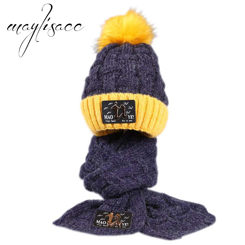 Maylisacc Children Winter Warm Knitted Hat With Scarves For 2-12 Years Old Girls Boys Adjustable Keep Warm Scarves With Hat Set