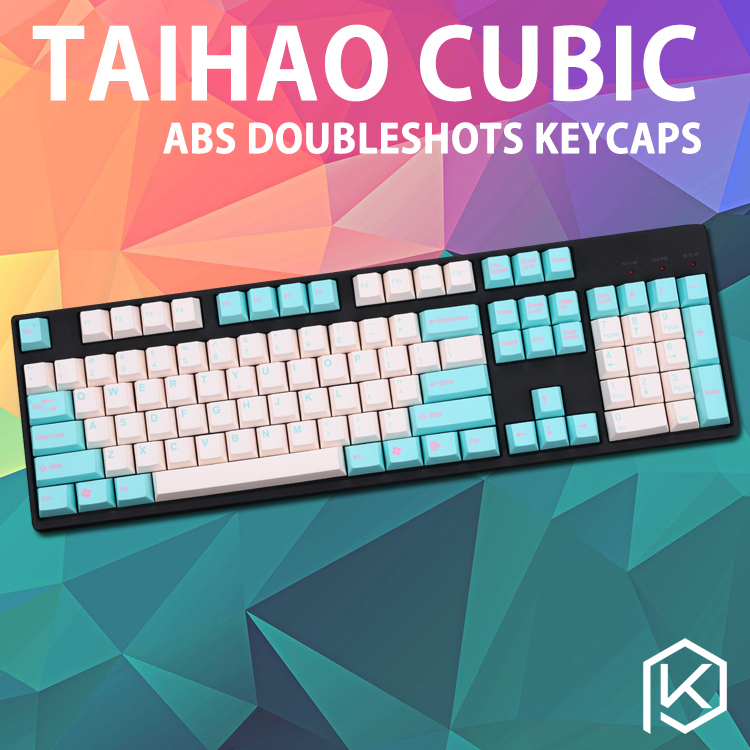 taihaocubic abs doubleshot keycaps for diy gaming mechanical keyboard color of white beige pink cyan grey