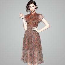 Summer Silk Dress 2018 New Short-sleeved Frog Closures Printed Boutique Womens Improved CheongsamDress Midi S-XXL