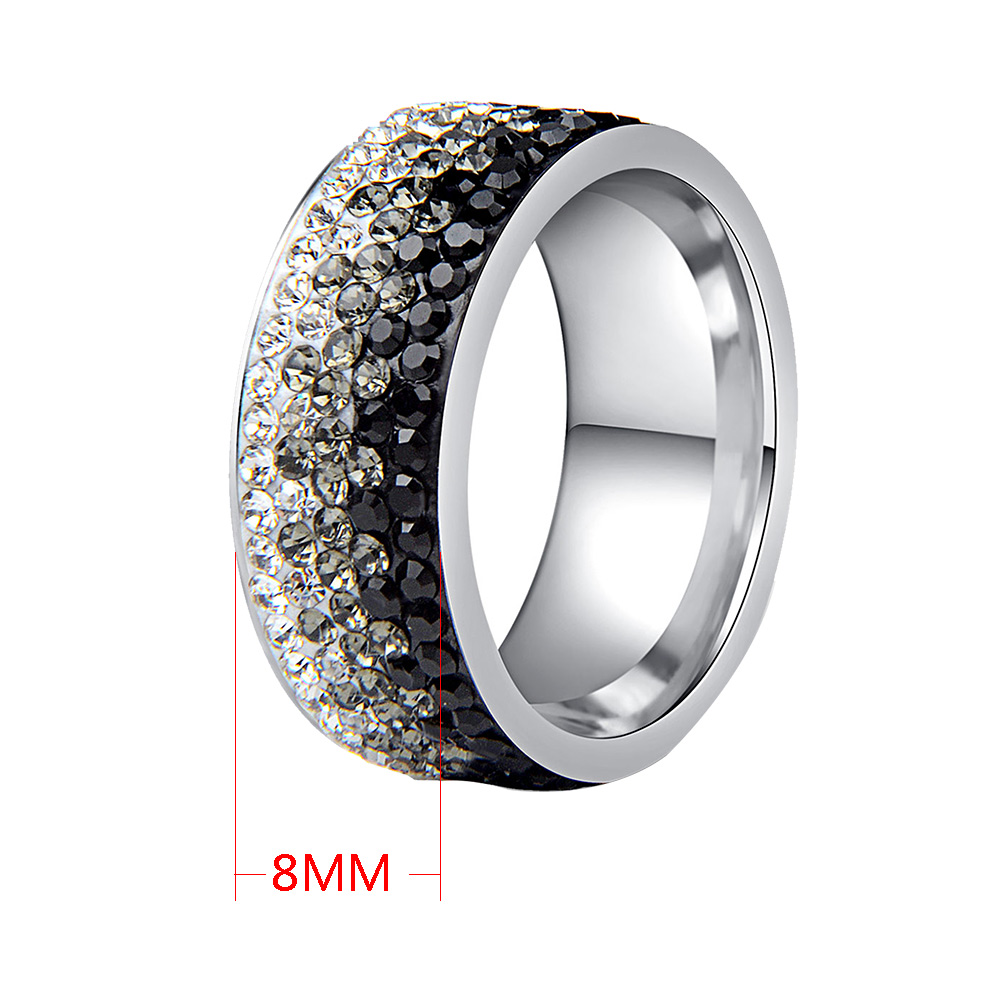 Chanfar 6 7 8 9 10 sizes Hot Sale Elegant AAA Crystal Ring Love Charm Stainless Steel Rings For Women Female Male Jewelry 2