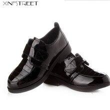 93c29734a Xinfstreet بنات أحذية الأطفال أطفال أحذية جلدية الأميرة الصلبة للفتيات أسود  أبيض الأحذية المدرسية أكبر حجم