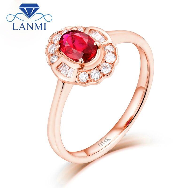 d9e9102f9e4 Luxury Design 14K White Gold Red Ruby Ring Natural Diamond for Women  Anniversary Fine Jewelry GiftUSD 556.70-575.70 piece