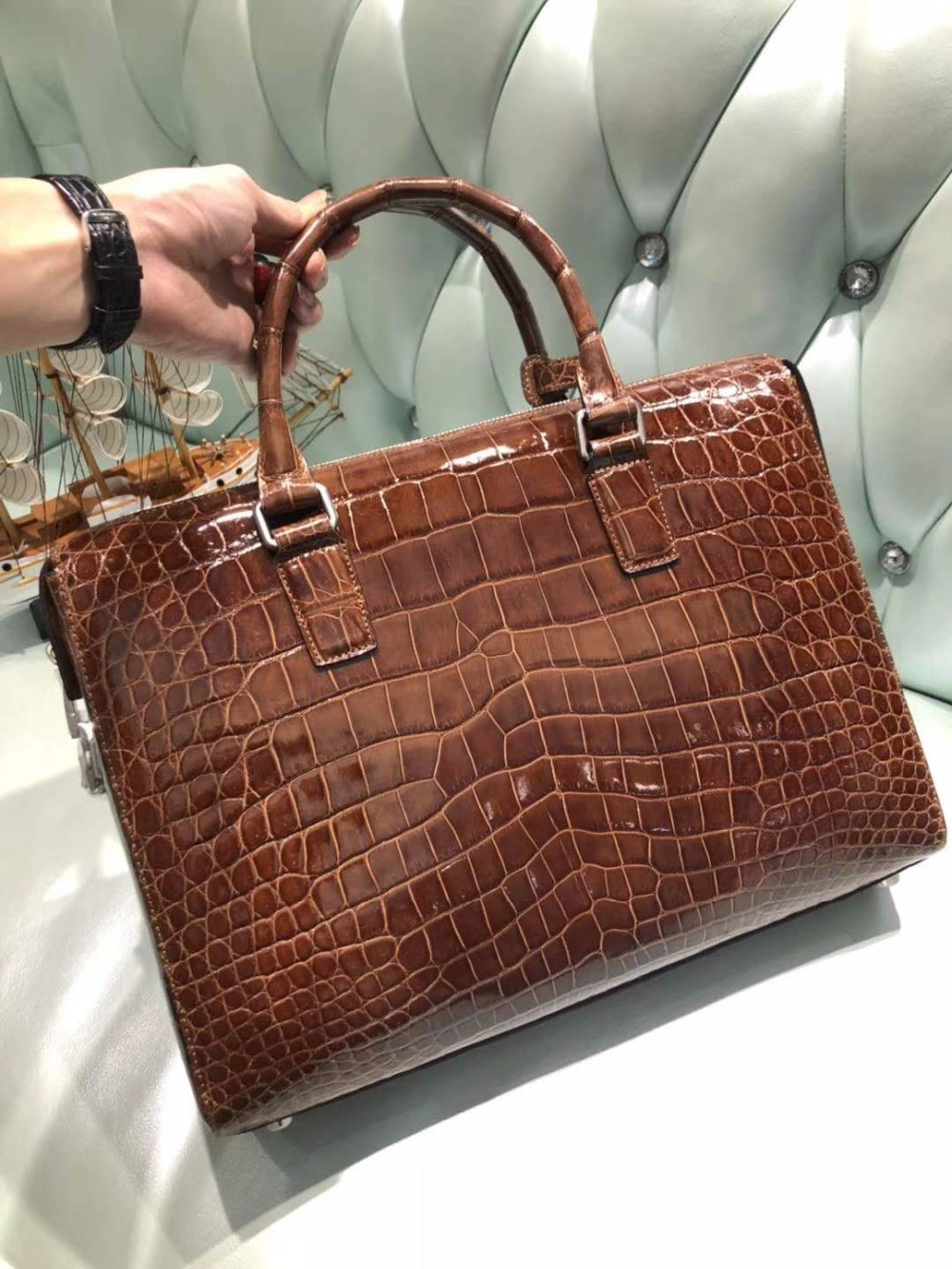 High Glossy Shinnny 100% Genuine Crocodile Leather Men Business Laptop Bag In Code Locker Key Men Brifecase Official Bag