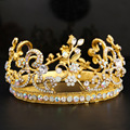 Baroque luxury vintage metal alloy queen crown wide headband for women bridal hair accessories fashion runway crystal hair band