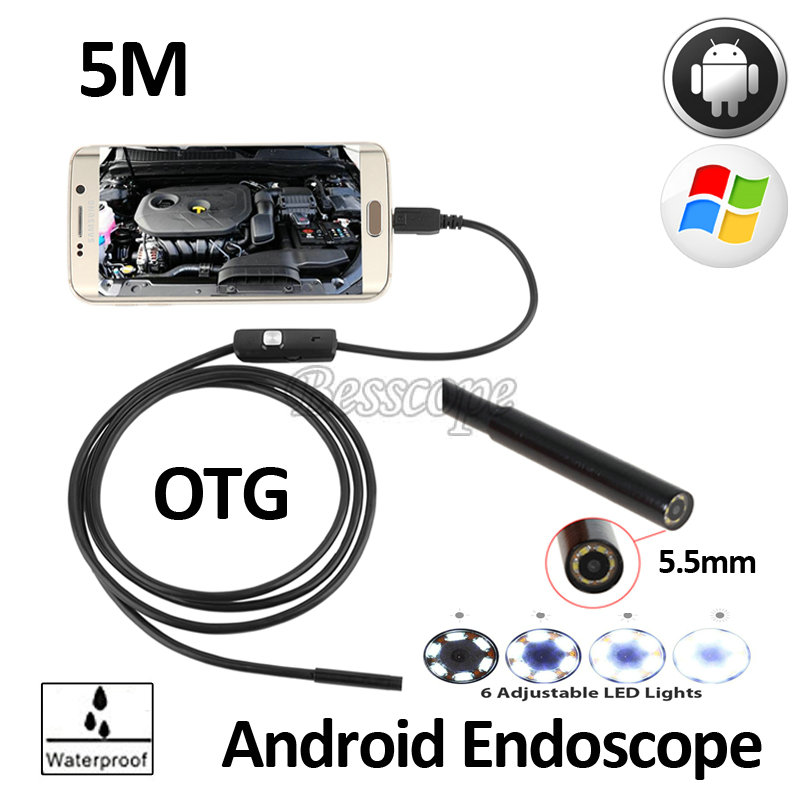 5.5mm Lens 5M Android OTG USB Endoscope Camera Waterproof Flexible Snake USB Pipe Inspection Android Phone Borescope 6LED Camera 2m mini android usb endoscope camera 5 5mm lens snake tube waterproof android phone otg usb endoscope borescope camera 6pcs led